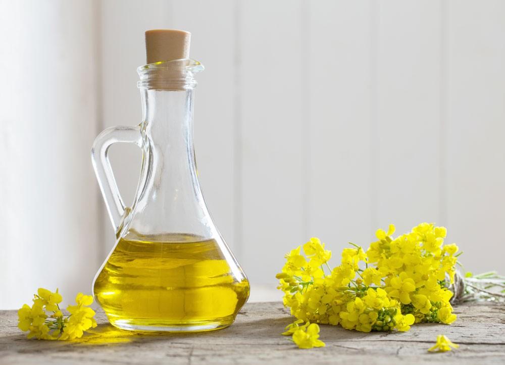 菜の花と瓶に入った菜種油