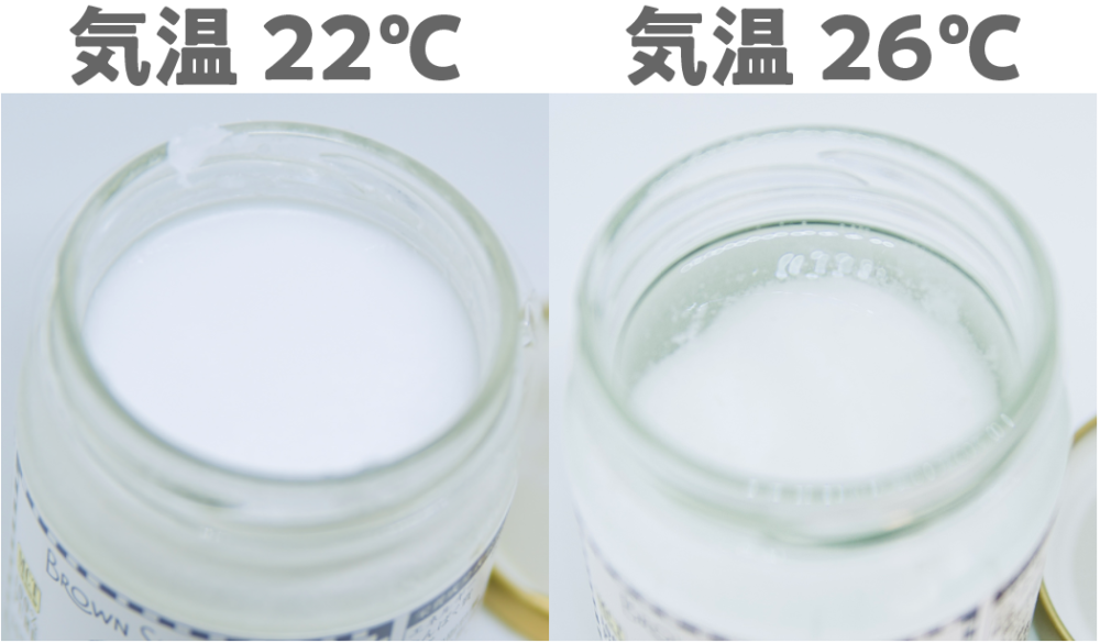 気温22度と気温26度の状況下でのココナッツオイルの状態の違い