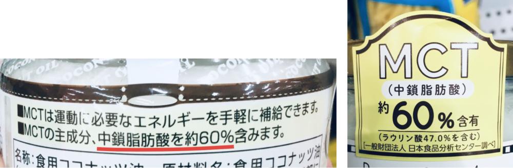 ココナッツオイルのパッケージに書かれている中鎖脂肪酸の含有量