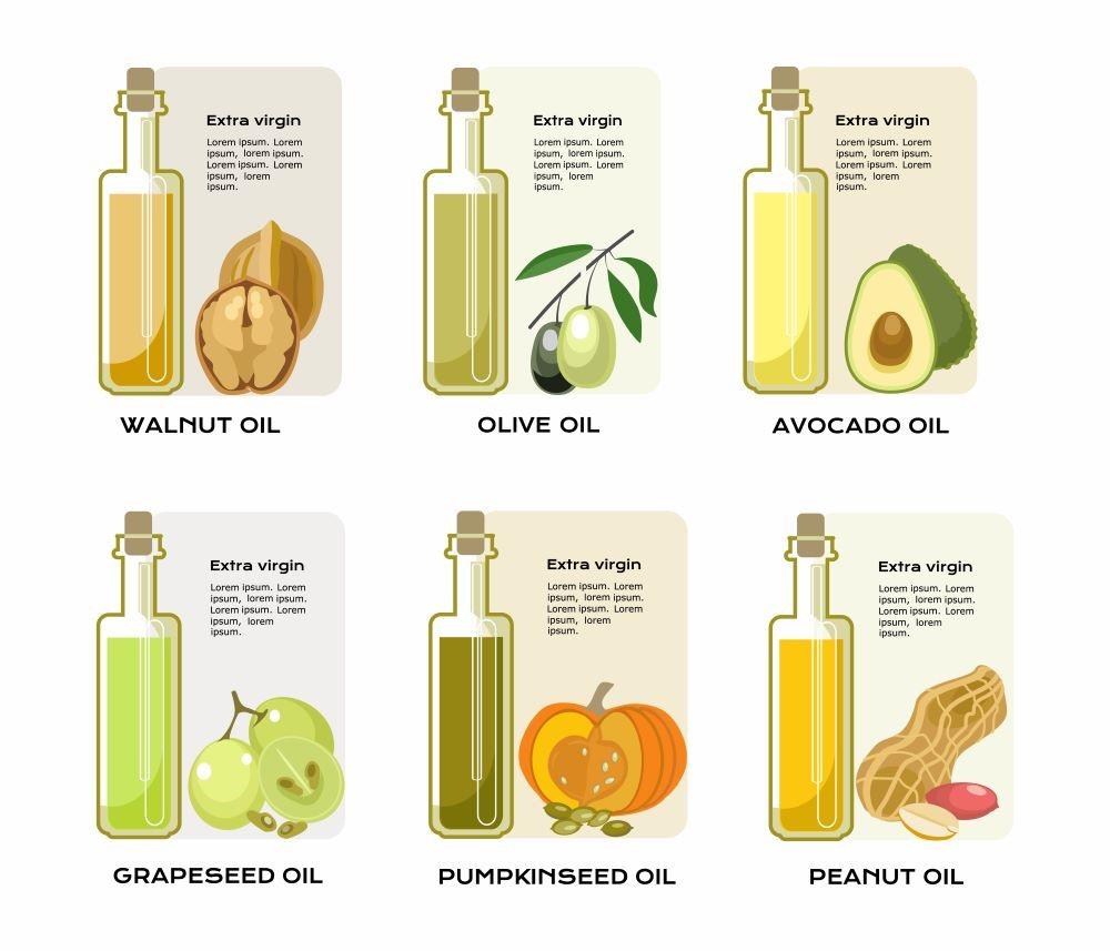 グレープシードオイルと他5種類の植物油のイラスト
