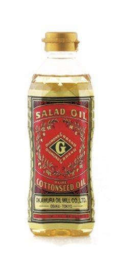 岡村製油「ダイヤモンドGブランド(圧搾製法一番搾り綿実油)」のパッケージ