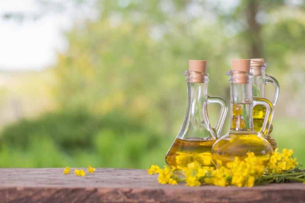 瓶に入った菜種油と菜の花